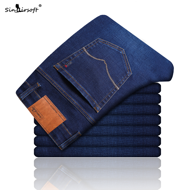 Summer And Autumn Men Casual Jeans Loose Cotton Business Straight Classic Blue Brand Clothing Men New Hot Sale Large Size 28-40