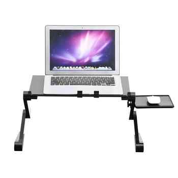 360° Adjustable Foldable aluminum alloy Laptop Desk Table Stand Holder Built-in 2 Cooling Dual Fan & Mouse Boad