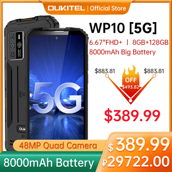 "OUKITEL WP10 5G Rugged SmartPhone Global Version 8GB+128GB 8000mAh Mobile Phone 6.67"" FHD+ MeditaTek 48MP Quad Camera Phone 1"