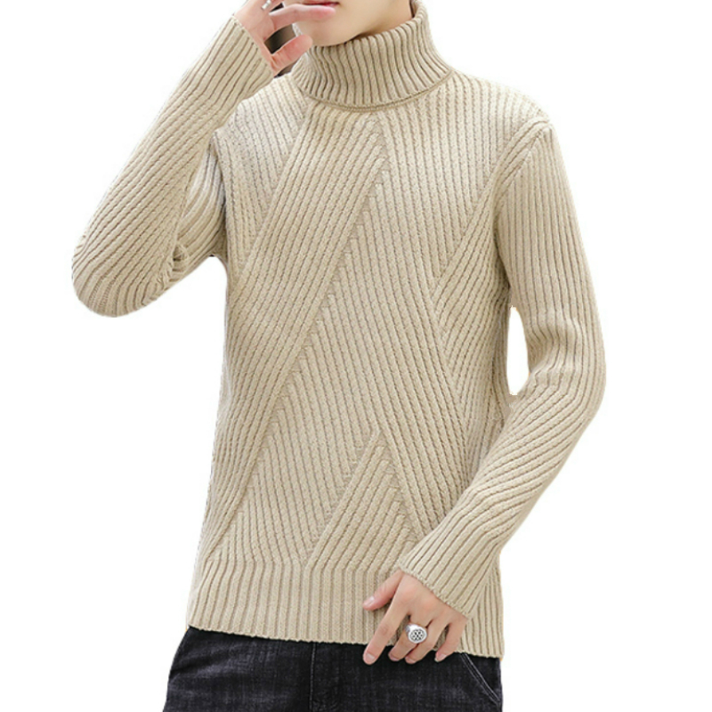 New Men's Warm Turtleneck Sweater Men Fashion Solid Knitted Mens Sweaters 2019 Casual Male Slim Fit Male Streetwear Pullovers