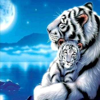 DIY Tiger Diamond Painting By Number Kits with Round Full Drill Gem Art Craft for Adults and Kids