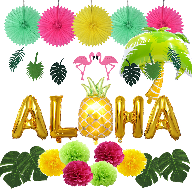 Hawaiian Party Decorations Flamingo Garlands Balloons For ALOHA Luau Party Beach Summer Tropical Birthday  Decoration Supplies
