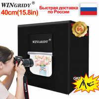 WINGRIDY 40cm*40cm 16in LED Folding Photo Studio Softbox Lightbox light Tent white yellow black background Accessories box light