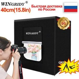 Image 1 - WINGRIDY 40cm * 40cm 16in LED 접는 사진 스튜디오 Softbox 라이트 박스 라이트 텐트 화이트 옐로우 블랙 배경 액세서리 박스 라이트