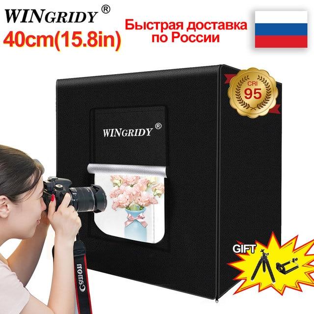 WINGRIDY 40cm * 40cm 16in LED 접는 사진 스튜디오 Softbox 라이트 박스 라이트 텐트 화이트 옐로우 블랙 배경 액세서리 박스 라이트