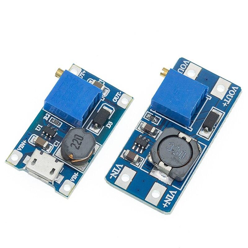 Mt3608 DC-DC placa ajustável do impulso do módulo 2a do impulso step up módulo com micro usb 2v-24v a 5v 9v 12v 28v
