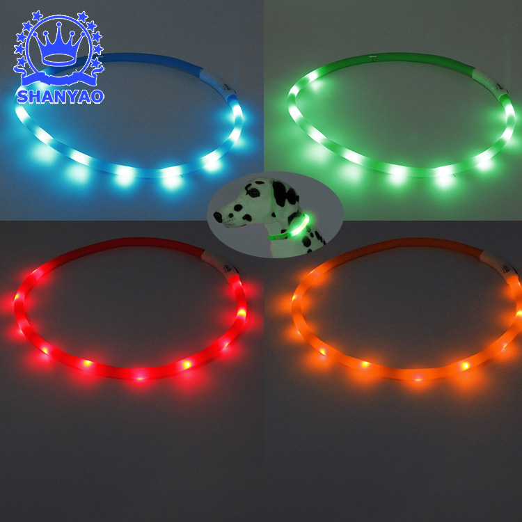 LED Luminous Collar Bichon Poodle Night Light Pet Collar Small Dogs Pet USB Traction Dog Collar