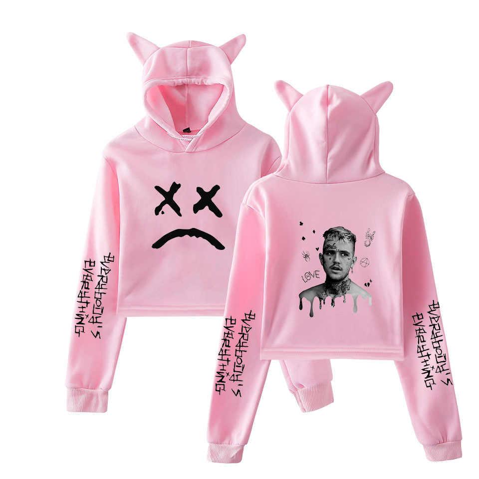Rap Lil Peep kırpma üst Hoodie Hip Hop Streetwear Kawaii kedi kulak kırpılmış kısa kazak kapşonlu kazak kadın üstleri Ropa mujer