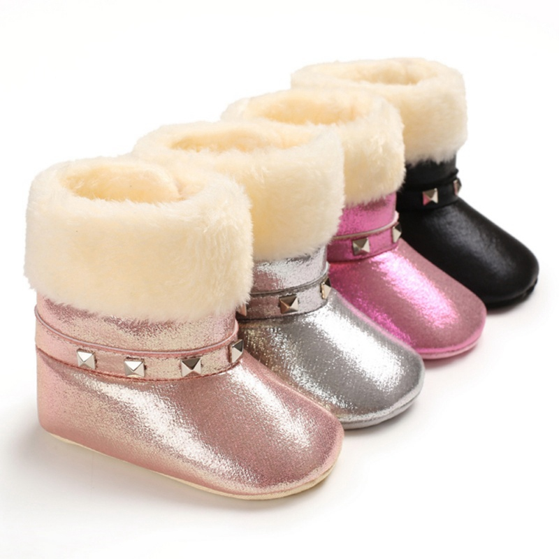 Winter Baby Girl Boots Casual Baby Shoes Newborn Plus Velvt Cute Non-slip Soft Sole Shoes