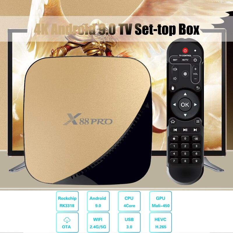 X88 PRO TV Box Android 9.0 4GB 4K Set-top Box RAM 64GB 32GB Google Voice Assistant Rockchip RK3318 Quad Core Wifi Youtube 4K