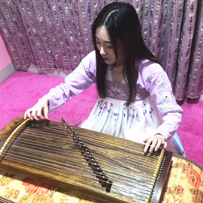 Mini Guzheng Portable Half-Zheng 21 Strings Zither Adult Children Playing Examination Finger Training Musical Instrument
