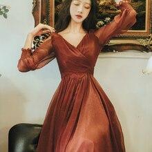 Новое модное женское красное платье темперамент Тонкий v-образный вырез длинный рукав vestidos Осень Зима