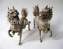 913 +++ китайская Серебряная Бронзовая статуя единорога Чи Линь КИЛИНА aPair