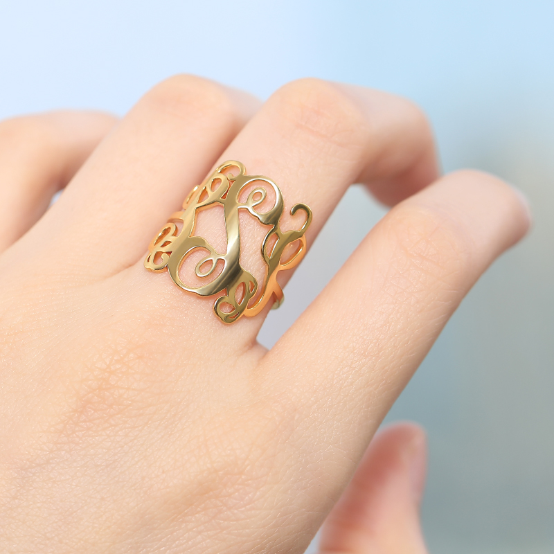 Custom Mini Monogram Ring With Your Personalized Initials Ring Silver Gold Stainless Steel Rings For Women Jewelry Birthday Gift