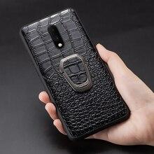 Echtem Leder Ring halterung Magnetische telefon fall für oneplus 7 7pro 6 6T Luxus abdeckung für One plus 7 7t pro 5 5t fall Fundas
