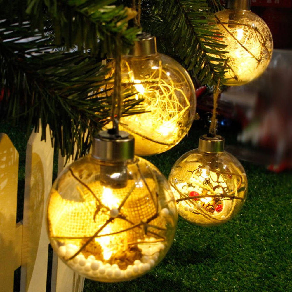 8cm Romantic Christmas Decorations Ball Transparent PVC For Home Luminous Light Hanging Christmas Tree Ball Ornaments Supplies