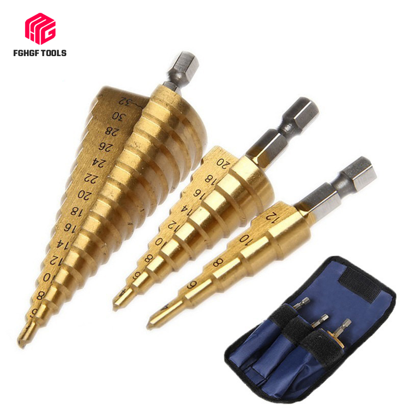 "FGHGF 3pcs 1/4"" Hss Step Cone Taper Drill Bit Cutter Set Hole Metric Titanium Coated Metal Hex Stepped Drill Bits 4-12/20/32mm"