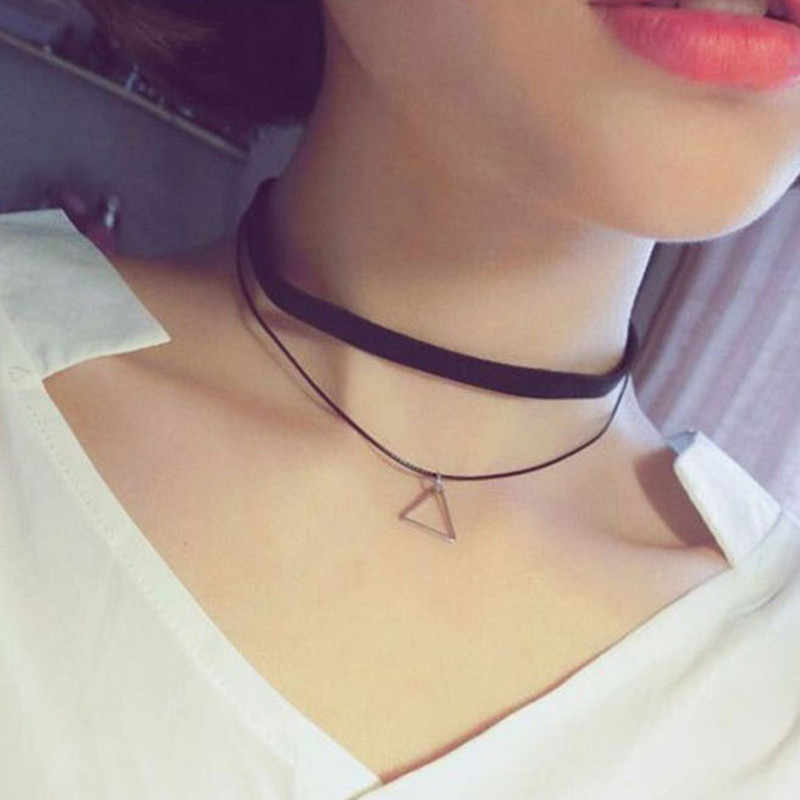 New Styles Bijoux Love Vintage Triangle Geometry Tattoo Waterdrop Clavicle Choker Necklace For Women Chain Jewelry