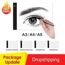 Графический планшет A3 A4 A5 светодиодный планшет для рисования тонкий художественный трафарет, трафарет для рисования, Настольный светильник, трехуровневый, Прямая поставка
