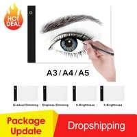 Tableta gráfica A3 A4 A5 tableta de dibujo LED delgada Plantilla de arte tablero de dibujo caja de luz mesa de seguimiento almohadilla de tres niveles Dropshipping