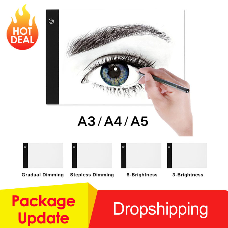 Tablette graphique A3 A4 A5 LED tablette de dessin mince Art pochoir planche à dessin boîte à lumière traçage Table Pad trois niveaux livraison directe