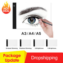 Graphics Tablet A3 A4 A5 LED Drawing Tablet Thin Art Stencil Drawing Board Light Box Tracing Table Pad Three-level Dropshipping(China)