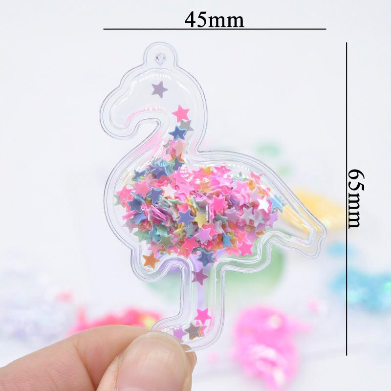 16Pcs/lot Shake Flamingo Appliques Transparent Bling Bling Star Flowing Bird Patches for Children Clip DIY Hair Clip Accessories