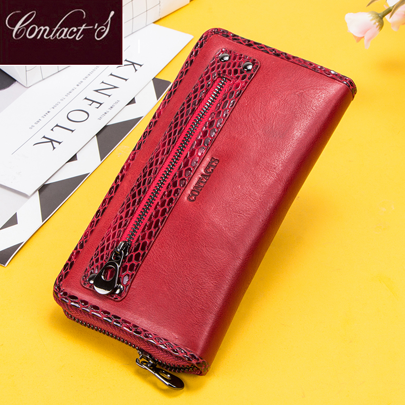 Contact's Genuine Leather Women Wallet Long Female Coin Purse Zipper Portomonee Clutch Money Bag Big Capacity RFID Card Holder
