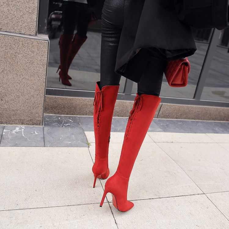 Große Size9 10 11 12 oberschenkel hohe stiefel kniehohe stiefel über das knie stiefel frauen damen stiefel schuhe frau winter stiefel frauen
