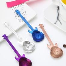 1 шт., нержавеющая сталь, мультяшная гитара, ложка, креативная, молочная, кофейная, ложка, мороженое, конфеты, чайная ложка, аксессуары, питьевые инструменты