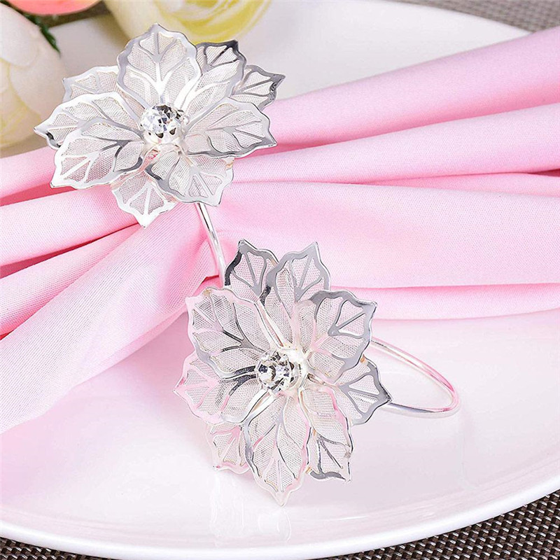 Briday New Napkin Rings For Wedding Party Napkin Holder Cup Flower Diamond Banquet Table Decoration Ornament Curtain Buckle Table Napkins Aliexpress