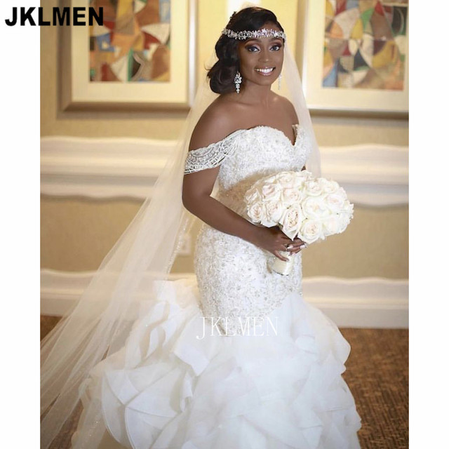 Real Photos Ruffle Organza Mermaid Wedding Dress Lace Beads Pearls Off-the-shoulder Trumpet Bridal Gown Custom Made 4