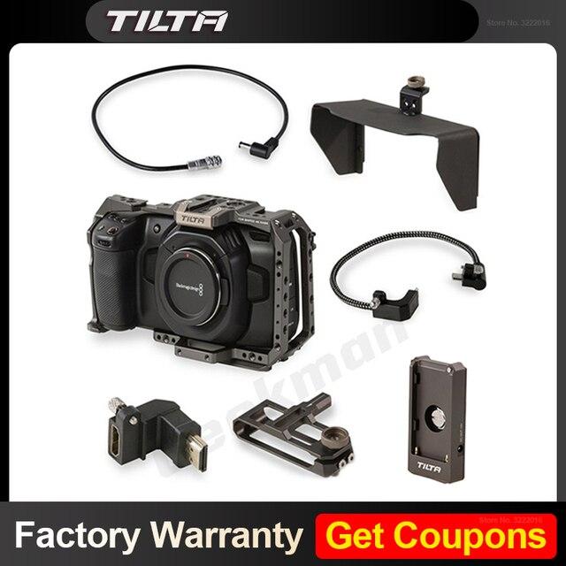 Tilta BMPCC 4k 6K 케이지 DSLR 카메라 (Sunho SSD 드라이브 홀더 포함) DC 전원 케이블 F970 배터리 플레이트 HDMI 어댑터 VS Smallring
