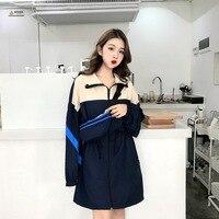 Preço mais 5 preço líquido foto shoot 858 #2019 estilo coreano trench coat cordão cintura abraçando meados de comprimento cores misturadas casaco + ov|  -