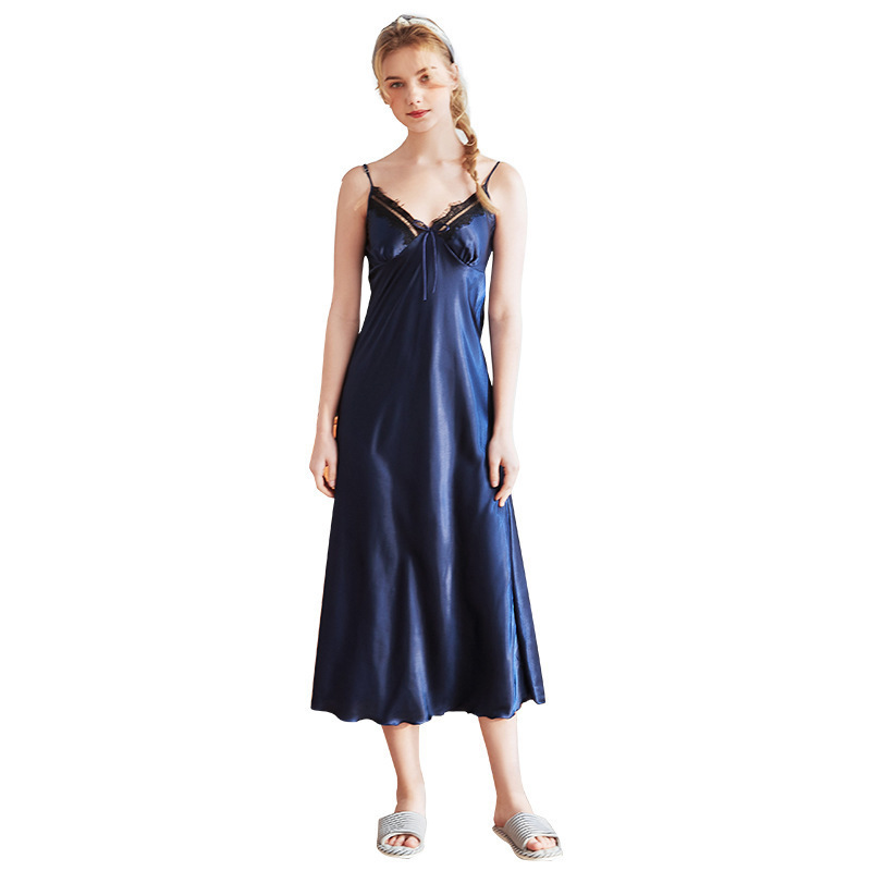 WOMEN'S Imitated Silk Fabric Strap Nightdress Dress Sexy Solid Color Lace Strap Women's Sleepwear Thin Silk Home Wear