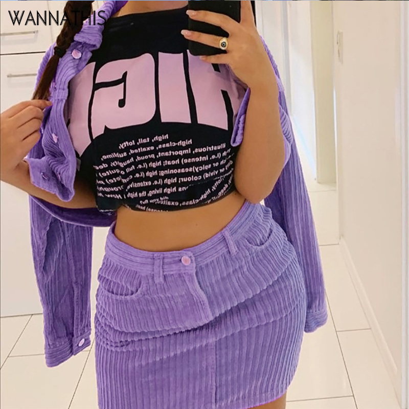 Wannathis Corduroy Purple Zipper Pockets Mini Skirts Women Casual Winter High Waist Striped Skinny Stretchy Thick Stripe Skirts