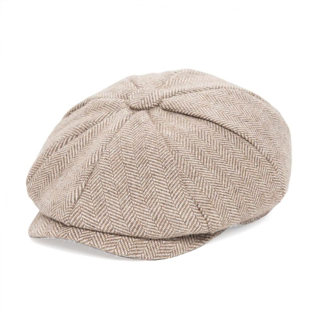 JANGOUL Small Size Baker Boy Cap Wool Blend Newsboy Caps Boy Girl Men Women Herringbone Flat Hat Driver Gatsby Hats Cabbies 001