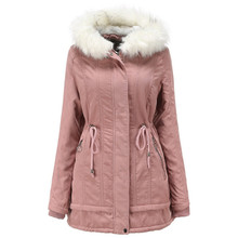 New Winter Coat Women Slim Plus Size Outwear Medium-Long Wadded Jacket Thick Fur Hooded Cotton Padded Warm Parkas Female Clothes цена 2017
