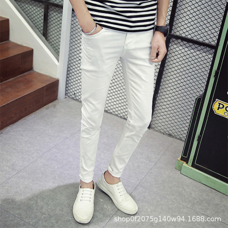 Spring And Summer MEN'S Jeans Slim Fit Korean-style Teenager Casual Pants Solid Color Pants White Cropped Jeans
