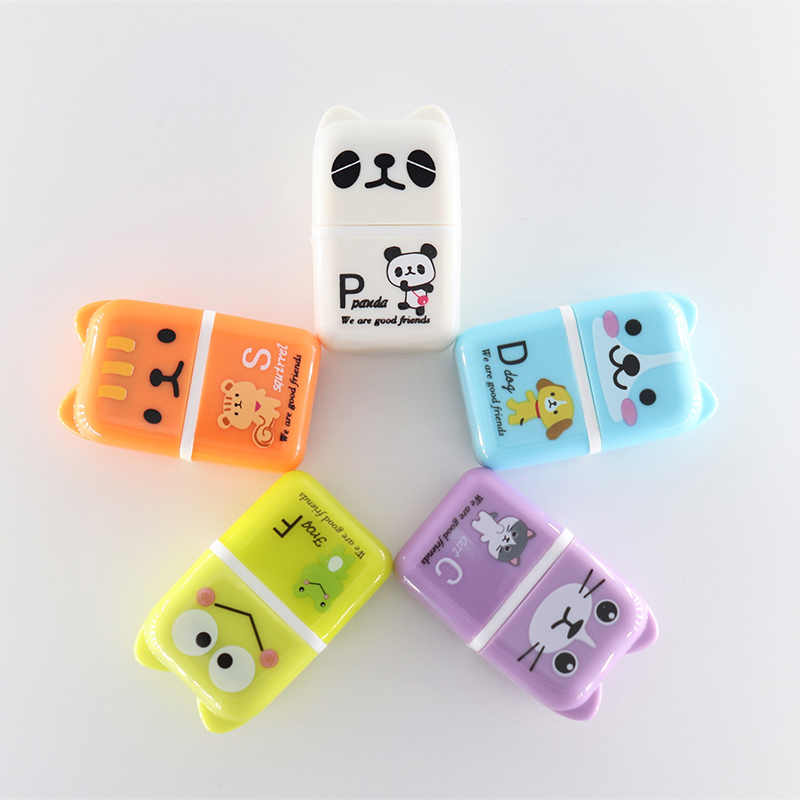 5pcs Roller Eraser Cute Cartoon Rubber Kawaii Students Stationery Material Escolar Kids Gifts School Office Correction Supplies