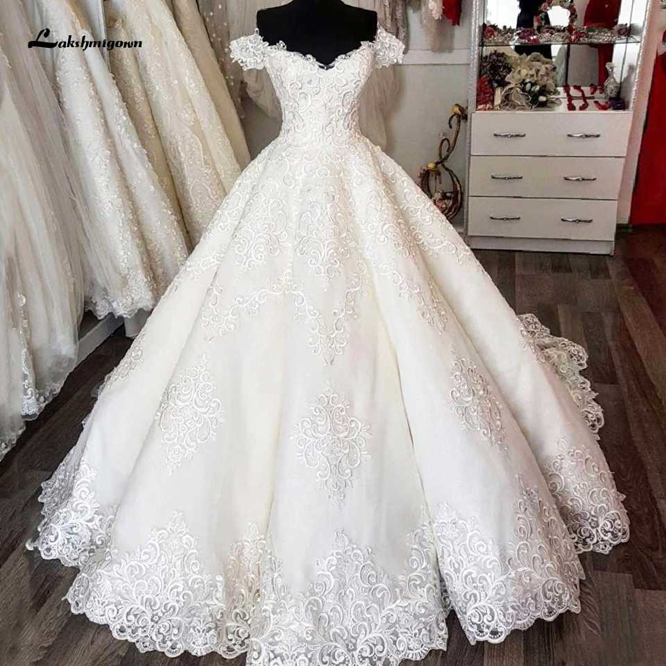 Luxury Dubai Ball Gown Wedding Dress Lace Embroidery 2020 African