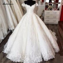 Luksusowa suknia ślubna dubaj suknia ślubna koronkowy haft 2020 afryki turcja kobiety suknie ślubne Off Shoulder Custom Made
