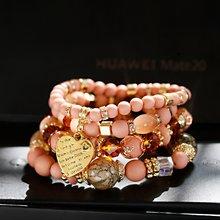 Oicos pulseiras e braceletes femininos dourados, pingentes de coração, vintage, de pedra natural, com contas de pedra, pulseira envoltória para mulheres pçs/lote
