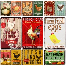 Happy Chicken Vintage Metal signos frescos huevos granja decoración señales de estaño para pub placas Metal artesanías pintura placas arte cartel