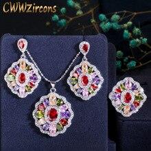CWWZircons 3 adet Vintage etnik kübik zirkonya takı setleri çok renkli büyük CZ yüzük kolye ve küpe bayanlar için parti T261