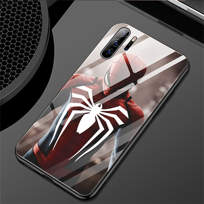 Avengers Luxury <font><b>Glass</b></font> <font><b>Case</b></font> For <font><b>Huawei</b></font> <font><b>P10</b></font> Plus 20Pro 30 Lite Spiderman Iron Man Captain America Cover For Mate10 20 30 Pro Coque image