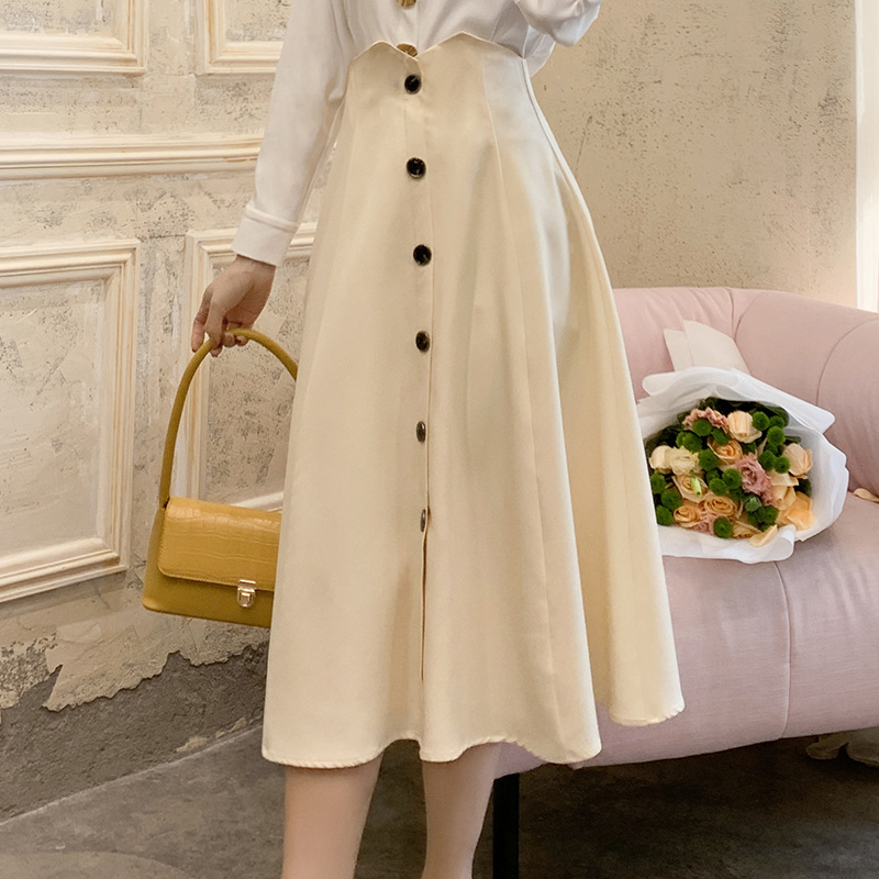 Skirt 2020 Spring New Products Debutante WOMEN'S Dress Slim Fit-Style Single-Breasted A- Line Skirt