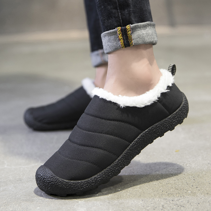 High Quality Men Boots Winter Warm Cotton Shoes Comfortable Indoor Slippers Waterproof Casual Boots Unisex Non-Slip Botas Hombre image