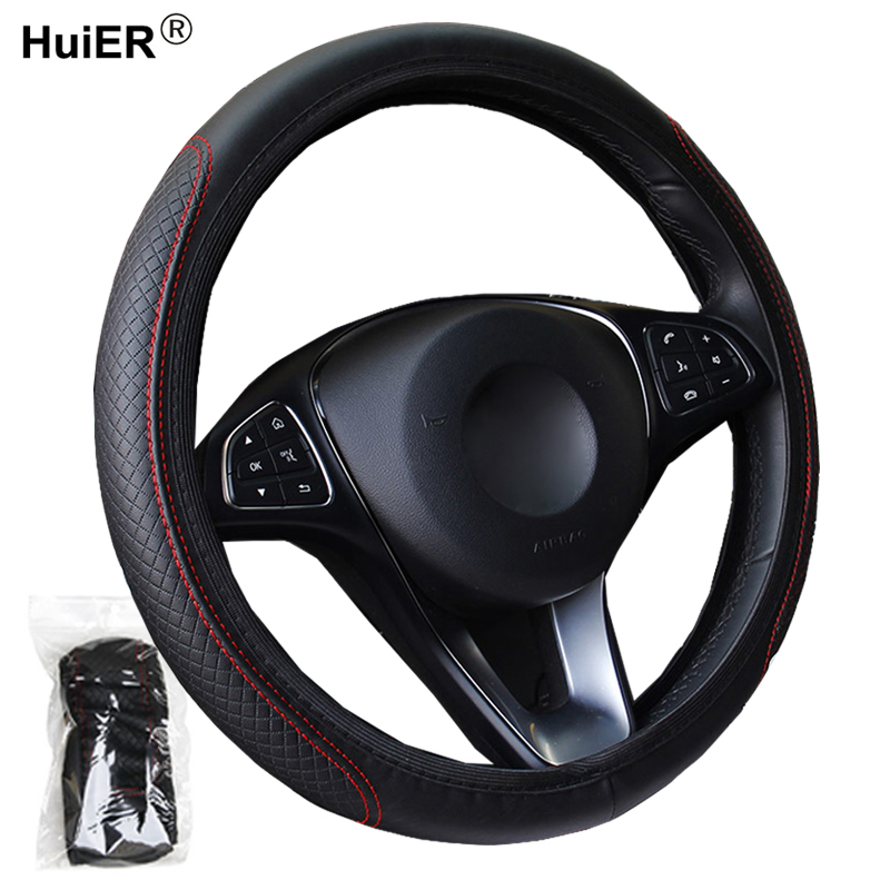 Fashion 6 Colors Car Steering Wheel Cover Volant Artificial Leather Braid on the Steering-wheel Funda Volante Auto Car Styling