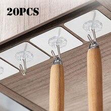20 pçs transparente forte auto adesivo porta ganchos ganchos ganchos de sucção carga pesada rack copo otário para cozinha banheiro escritório